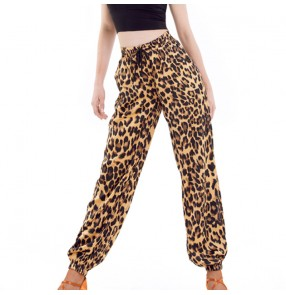 Female adult black leopard latin rumab chacha dance pants elastic waist leopard print Latin dance costumes training pants Trousers