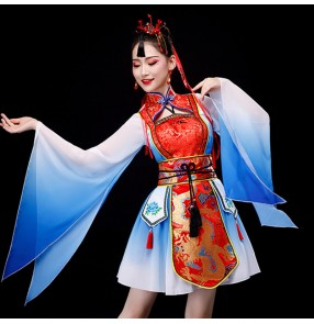 Female ancient style Hanfu dragon cheongsam women stage performance qipao dresses chinese dresses Chinese style video shooting performance costume