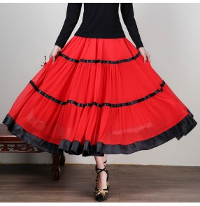 Female ballroom dance skirt red chiffon ballroom waltz tango dance skirt competition  stage costume for women