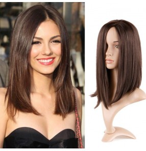 Female Brown long straight hair bobo wig female synthetic wig brown straight hair Clavicle wig