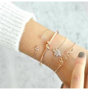 female Cactus set bracelet triangle opening love diamond bracelet four-piece set fashion jewelry for women