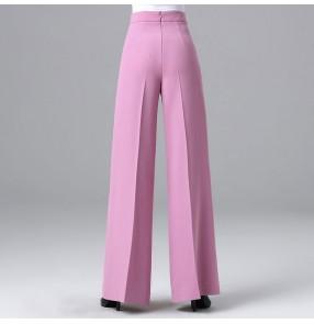 Female high-waist modern ballroom dance pants purple red black ballroom dance trousers for women Waltz wide-leg pants Dance pants