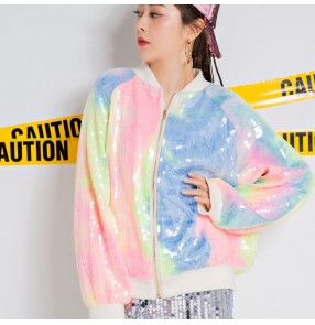 female hip hop Street dance coats singers jazz DS dance performance costume women's gogo dancers glitter rainbow sequined jacket color plus size jacket