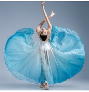 Female light blue with white gradient color flamenco skirts modern dance ballet dance skirts women classical dance practice performance clothes