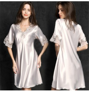 Female Sexy pajamas women plus size ladies home wear imitation silk nightdress home wear gown