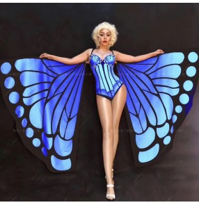 Female singer stage performance jazz dance costumes Halloween bar prom party butterfly wings jumpsuit gogo costumes DjDs dance team outfits