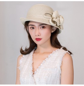 female sun hat photos shooting fisherman hat fashion Curled sun hat Sun protection foldable straw beach hat