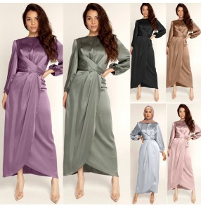 Feminine tunic long sleeves dresses middle east Arabia dress European and American Dubai satin long dress