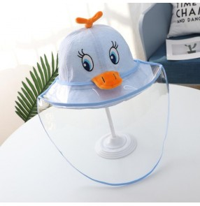 fisherman's cap for kids with safety face shield anti-spitting virus dustproof toddles cartoon sunhat