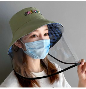 Fisherman's cap with clear face shield for women anti-spray virus sunscreen outdoor hats