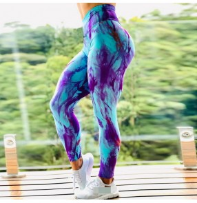 Fitness Yoga running workout pants for female high-elastic quick-drying running sports leggings training yoga pants tie-dye pattern high-waist leggings