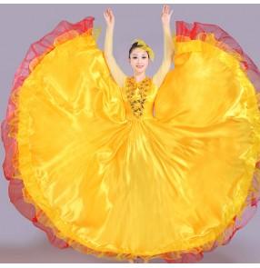 Flamenco dance dress for women girls spanish bull dance skirts stage performance opening dance chorus ballroom dance dresses 540degree
