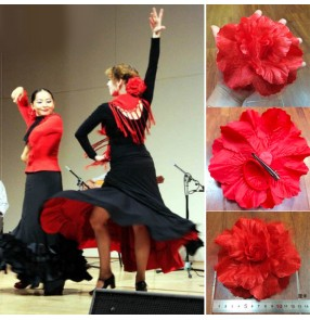 Flamenco dance red head flowers paso double dance headdress stage performance head flowers