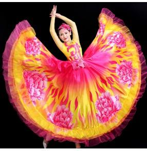 Flamenco dress spanish bull dance dress for women girls Opening dance big swing skirt dance costume stage performance ballroom dance dress peony chorus dress