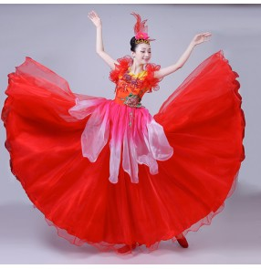 Flamenco dresses Spanish bull dance dresses red yellow colored for women female petals opening folk dance big skirted dresses