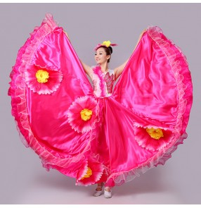 Flamenco petal dresses for women female stage performance ballroom Spanish bull dance opening dance competition costumes dresses