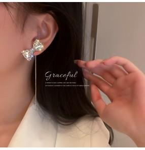 Flashing Diamond Bowknot long tassel Earrings for women girls stage performance photos shooting s925 silver needle earrings