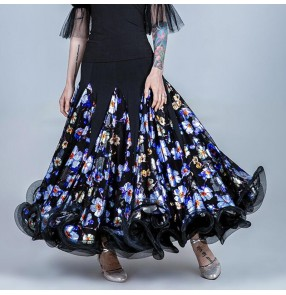 Floral Ballroom dancing skirts for women female stage performance waltz tango dance skirts