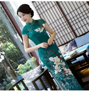 Floral Chinese dress china traditional retro qipao dress stage performance model show miss etiquette cheongsam dress for female