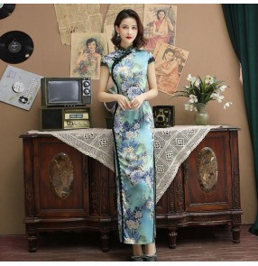 Floral Chinese dresses qipao dresses oriental traditional cheongsam dress host model show stage performance dresses