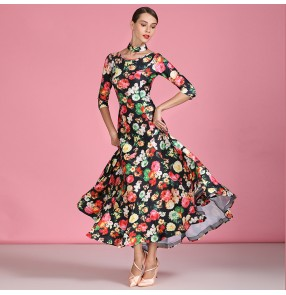 Floral flowers ballroom dancing dresses for women practice waltz tango dance dress costumes