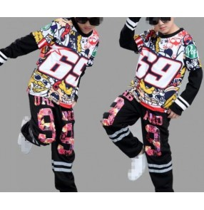 Floral graffiti printed 3in1 boys kids children girls kindergarten school competition performance cos play party street hip hop jazz dancing outfits costumes
