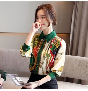 Flower and bird fashion printed shirt women work chiffon blouses retro temperament satin top printed shirt for female
