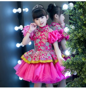 Flower girls evening party stage performance host singers dresses pink colored flower girls piano princess performance evening dresses
