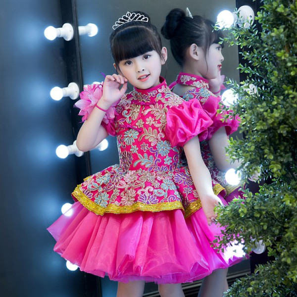 63b926b89d5b3 Flower girls evening party stage performance host singers dresses pink  colored flower girls piano princess performance evening dresses