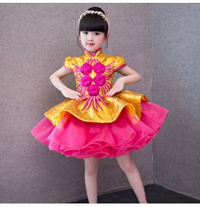 flower girls modern dance princess dresses pink with gold colored evening party host singers solo chorus stage performance cosplay dresses