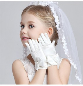Flower girls wedding party gloves princess photos shooting chorus choir stage performance short gloves gants de filles de fleur