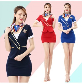 Foot massage technician uniform foot massage short-sleeved suit spa salon beautician overalls flight attendant cosplay Work clothes for women