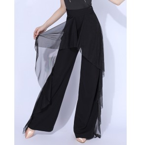 Fringe latin dance pants for women black red side hip with scarf skirts stage performance wide leg ballroom latin dance long trousers