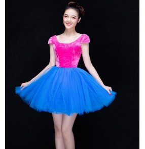 Fuchsia hot pink royal blue puff skirted velvet top patchwork fashion modern dance girls party cos play stage performance singer jazz dancing dresses outfits