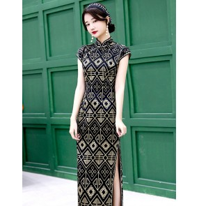 Geometry printed Chinese dresses women traditional cheongsam qipao dresses Old Shanghai Long cheongsam young girl retro Chinese style dress
