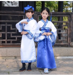 Girl boys hanfu chinese folk dance costumes children drama cosplay kimono robes stage performance dress confucius school uniforms