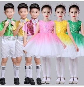 Girl Boys sequined jazz dance costumes toddler performing chorus pink yellow green princess dresses birthday party fluffy skirt dancing dance clothes