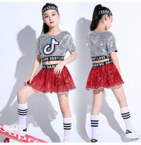 Girl Children silver with red Jazz Dance Costumes for Girls Children Stage Dance Clothes Tide Kid Hip hop rap Sequin Dance Suit