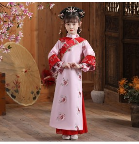 Girl chinese ancient traditional Qing princess empress Cosplay dress Manchu costume ancient Qing Dynasty palace Children's princess photo shooting film performance robes