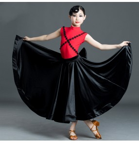Girl's black with red ballroom dancing dresses competition ballroom dance costumes waltz tango dance dress for kids