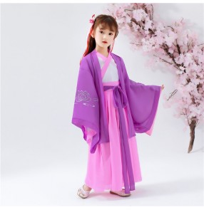Girl's pink with purple chinese hanfu chinese style fairy princess performance dresses tang costume girl china gown
