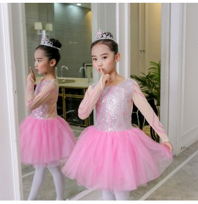 Girl school competition sequins chorus dress stage performance modern dance ballet dress puffy skirt children performance clothing princess dress long sleeves