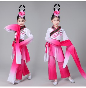 Girls ancient china style folk dance costumes for kids children fan yangko drama anime fairy cosplay water fall sleeves dancing dresses