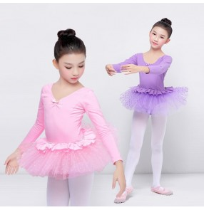 Girls ballet dance dresses pink violet stage performance tutu skirt professional modern dance gymnastics dance costumes