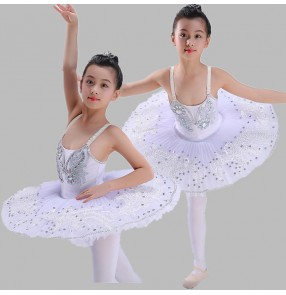 Girls ballet dance dresses white color modern dance swan lake platter skirts pan cake competition stage performance tutu dresses
