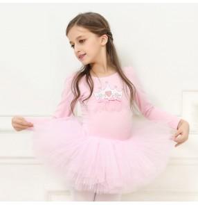 Girls ballet dance princess dresses for children pink purple blue modern dance stage performance gymnastics tutu skirt dance costumes