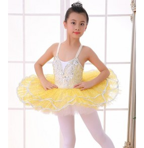 Girls ballet dresses for kids yellow color modern dance tutu platter skirt ballet stage performance swan lake competition dresses