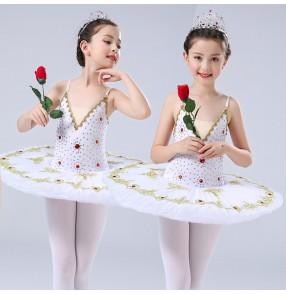 Girls ballet dresses pan cake ballerina kids children stage show performance modern dance tutu skirts costumes dresses