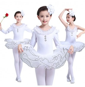 Girls ballet dresses white swan lake gymnastics stage performance modern dance tutu skirt ballet dance costumes
