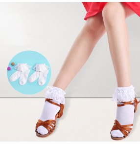 Girls ballet latin dance princess lace cotton short socks for kids children school stage performance cosplay socks 2 pairs
